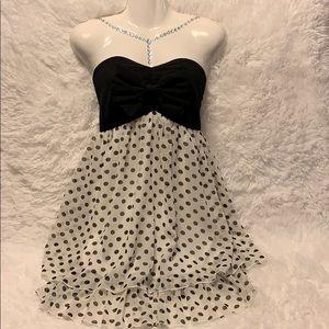 Strapless Polkadots Black And White Short Dress